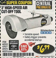 "Harbor Freight Coupon 3"" HIGH SPEED AIR CUT-OFF TOOL Lot No. 47077/67425/69473/60243/60374 Expired: 4/30/19 - $6.99"