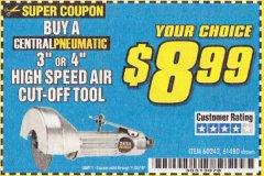 "Harbor Freight Coupon 3"" HIGH SPEED AIR CUT-OFF TOOL Lot No. 47077/67425/69473/60243/60374 Expired: 10/30/19 - $0"