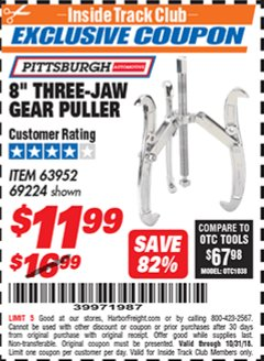 "Harbor Freight ITC Coupon 8"" THREE-JAW GEAR PULLER Lot No. 63952/69224 Expired: 10/31/18 - $11.99"