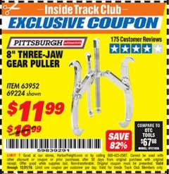 "Harbor Freight ITC Coupon 8"" THREE-JAW GEAR PULLER Lot No. 63952/69224 Expired: 12/31/18 - $11.99"