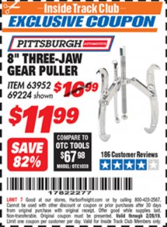 "Harbor Freight ITC Coupon 8"" THREE-JAW GEAR PULLER Lot No. 63952/69224 Expired: 2/28/19 - $11.99"