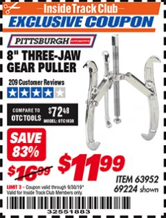 "Harbor Freight ITC Coupon 8"" THREE-JAW GEAR PULLER Lot No. 63952/69224 Expired: 9/30/19 - $11.99"