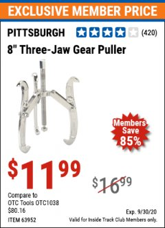 "Harbor Freight ITC Coupon 8"" THREE-JAW GEAR PULLER Lot No. 63952/69224 Expired: 9/30/20 - $11.99"