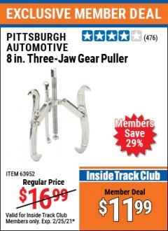 "Harbor Freight ITC Coupon 8"" THREE-JAW GEAR PULLER Lot No. 63952/69224 Expired: 2/25/21 - $11.99"