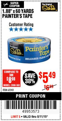 "Harbor Freight Coupon 1.88"" X 60 YARDS PAINTER'S TAPE Lot No. 63243 Expired: 8/11/19 - $5.49"