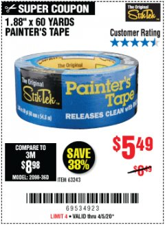 "Harbor Freight Coupon 1.88"" X 60 YARDS PAINTER'S TAPE Lot No. 63243 Expired: 6/30/20 - $5.49"