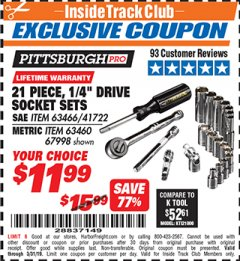 "Harbor Freight ITC Coupon 21 PIECE, 1/4"" DRIVE SOCKET SETS Lot No. 41722/63466/67998/63460 Expired: 3/31/19 - $11.99"