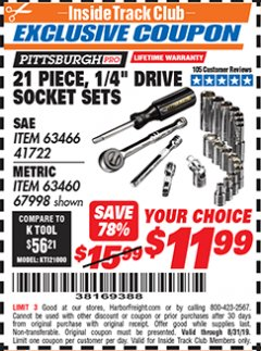 "Harbor Freight ITC Coupon 21 PIECE, 1/4"" DRIVE SOCKET SETS Lot No. 41722/63466/67998/63460 Expired: 8/31/19 - $11.99"