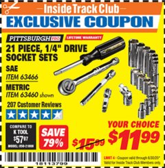 "Harbor Freight ITC Coupon 21 PIECE, 1/4"" DRIVE SOCKET SETS Lot No. 41722/63466/67998/63460 Valid Thru: 6/30/20 - $11.99"