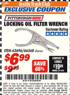 Harbor Freight ITC Coupon LOCKING OIL FILTER WRENCH Lot No. 63696/66568 Expired: 8/31/18 - $6.99