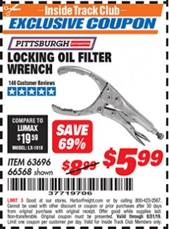 Harbor Freight ITC Coupon LOCKING OIL FILTER WRENCH Lot No. 63696/66568 Expired: 8/31/19 - $5.99