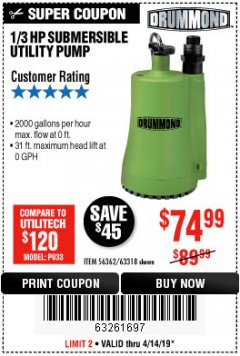 Harbor Freight Coupon 1/3 HP SUBMERSIBLE UTILITY PUMP - 2000 GPH Lot No. 63318 Expired: 4/14/19 - $74.99