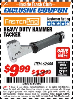 Harbor Freight ITC Coupon HEAVY DUTY HAMMER TACKER Lot No. 62608 Expired: 8/31/18 - $9.99