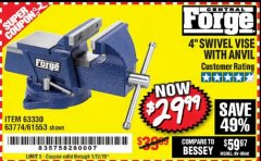 "Harbor Freight Coupon 4"" SWIVEL VICE WITH ANVIL Lot No. 67035/63330/61553 Expired: 1/12/19 - $29.99"