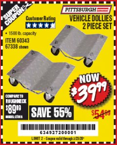Harbor Freight Coupon 2 PIECE VEHICLE WHEEL DOLLIES 1500 LB. CAPACITY Lot No. 67338/60343 EXPIRES: 6/30/20 - $39.99