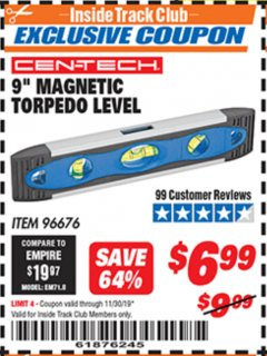 "Harbor Freight ITC Coupon 9"" MAGNETIC TORPEDO LEVEL Lot No. 96676 Expired: 11/30/19 - $6.99"