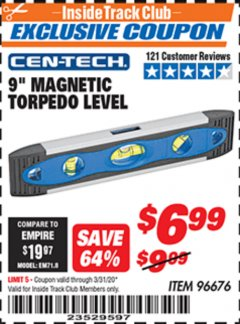 "Harbor Freight ITC Coupon 9"" MAGNETIC TORPEDO LEVEL Lot No. 96676 Expired: 3/31/20 - $6.99"