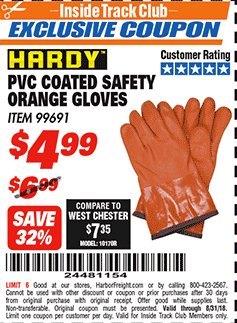 Harbor Freight ITC Coupon HARDY PVC COATED SAFETY ORANGE GLOVES Lot No. 99691 Expired: 8/31/18 - $4.99