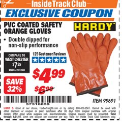 Harbor Freight ITC Coupon HARDY PVC COATED SAFETY ORANGE GLOVES Lot No. 99691 Expired: 8/31/19 - $4.99