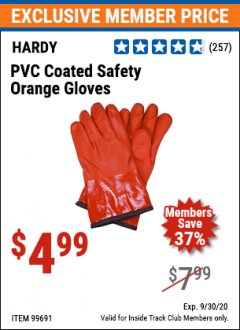 Harbor Freight ITC Coupon HARDY PVC COATED SAFETY ORANGE GLOVES Lot No. 99691 Expired: 9/30/20 - $4.99