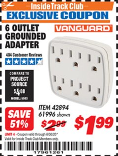 Harbor Freight ITC Coupon 6 OUTLET GROUNDED ADAPTER Lot No. 61996 Dates Valid: 12/31/69 - 6/30/20 - $1.99