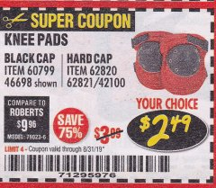 Harbor Freight Coupon BLACK CAP KNEE PADS Lot No. 60799/46698 Expired: 8/31/19 - $2.49