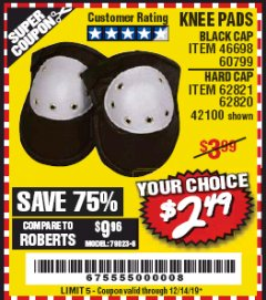 Harbor Freight Coupon BLACK CAP KNEE PADS Lot No. 60799/46698 Expired: 12/14/19 - $2.49
