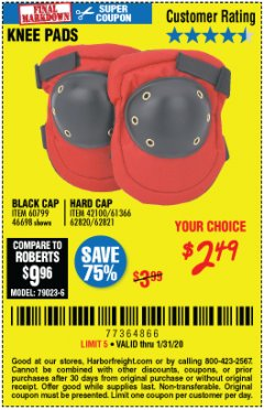 Harbor Freight Coupon BLACK CAP KNEE PADS Lot No. 60799/46698 Expired: 1/31/20 - $2.49
