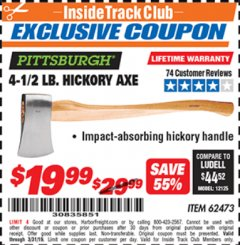 Harbor Freight ITC Coupon 4-1/2 LB. HICKORY AXE Lot No. 62473/98096 Expired: 3/31/19 - $19.99