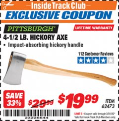 Harbor Freight ITC Coupon 4-1/2 LB. HICKORY AXE Lot No. 62473/98096 Expired: 3/31/20 - $19.99