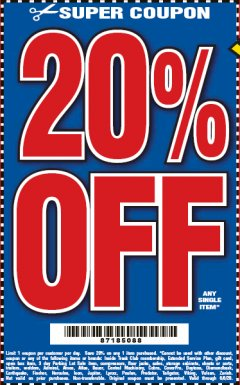 Harbor Freight Coupon 20 percent off coupon expires: 6/6/20
