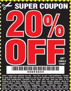 Harbor Freight Coupon 20 percent off coupon expires: 6/7/20
