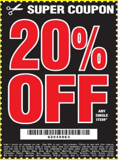 Harbor Freight Coupon 20 percent off coupon expires: 6/21/20