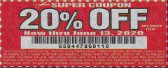 Harbor Freight Coupon 20 percent off coupon expires: 6/20/20
