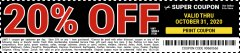 Harbor Freight Coupon 20 percent off coupon expires: 10/31/20