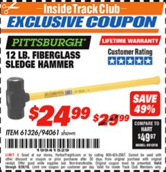 Harbor Freight ITC Coupon 12 LB FIBERGLASS SLEDGE HAMMER Lot No. 61326/94061 Expired: 9/30/18 - $24.99