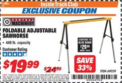 Harbor Freight ITC Coupon FOLDABLE ADJUSTABLE SAWHORSE Lot No. 69059 Expired: 6/30/18 - $19.99