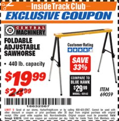 Harbor Freight ITC Coupon FOLDABLE ADJUSTABLE SAWHORSE Lot No. 69059 Expired: 9/30/18 - $19.99