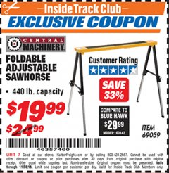 Harbor Freight ITC Coupon FOLDABLE ADJUSTABLE SAWHORSE Lot No. 69059 Expired: 11/30/18 - $19.99