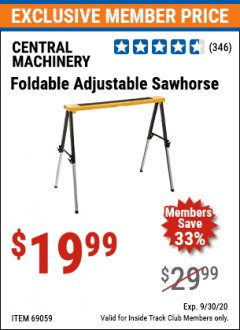 Harbor Freight ITC Coupon FOLDABLE ADJUSTABLE SAWHORSE Lot No. 69059 Expired: 9/30/20 - $19.99