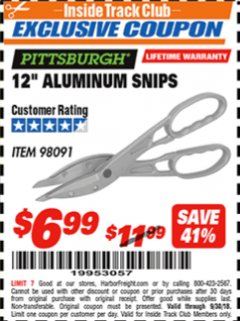 "Harbor Freight ITC Coupon 12"" ALUMINUM SNIPS Lot No. 98091 Expired: 9/30/18 - $6.99"