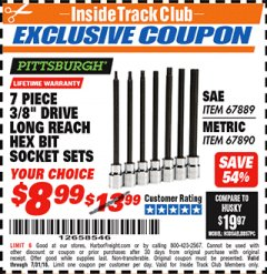 "Harbor Freight ITC Coupon 7 PIECE, 3/8"" DRIVE LONG REACH HEX BIT SOCKET SETS Lot No. 67889/67890 Expired: 7/31/18 - $8.99"