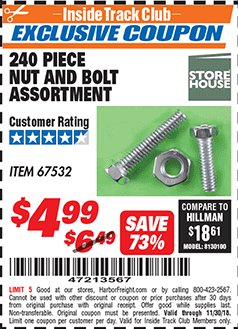Harbor Freight ITC Coupon 240PIECE NUT AND BOLT ASSORTMENT Lot No. 67532 Expired: 11/30/18 - $4.99