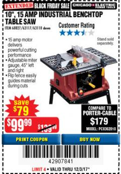 "Harbor Freight Coupon 10"", 15 AMP BENCHTOP TABLE SAW Lot No. 45804/63117/64459/63118 Expired: 12/3/17 - $99.99"