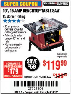 "Harbor Freight Coupon 10"", 15 AMP BENCHTOP TABLE SAW Lot No. 45804/63117/64459/63118 Expired: 5/14/18 - $119.99"