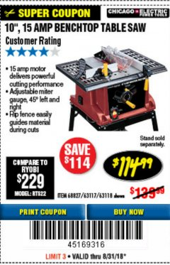 "Harbor Freight Coupon 10"", 15 AMP BENCHTOP TABLE SAW Lot No. 45804/63117/64459/63118 Expired: 8/31/18 - $114.99"
