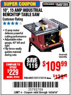 "Harbor Freight Coupon 10"", 15 AMP BENCHTOP TABLE SAW Lot No. 45804/63117/64459/63118 Expired: 10/29/18 - $109.99"