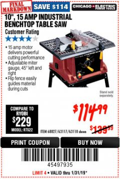 "Harbor Freight Coupon 10"", 15 AMP BENCHTOP TABLE SAW Lot No. 45804/63117/64459/63118 Expired: 1/31/19 - $114.99"