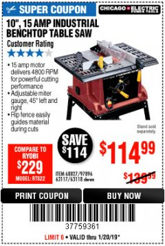 "Harbor Freight Coupon 10"", 15 AMP BENCHTOP TABLE SAW Lot No. 45804/63117/64459/63118 Expired: 1/20/19 - $114.99"