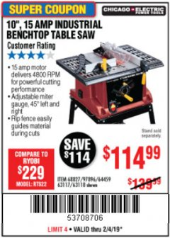 "Harbor Freight Coupon 10"", 15 AMP BENCHTOP TABLE SAW Lot No. 45804/63117/64459/63118 Expired: 2/4/19 - $114.99"
